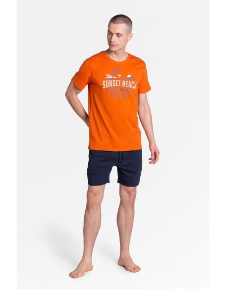 Henderson Piżama Led 38867-22X Pomarańczowo-Granatowa