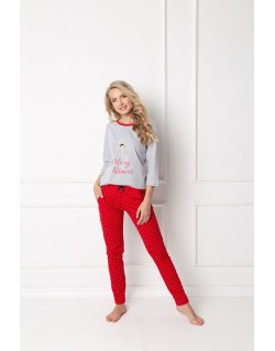 Aruelle Piżama Cookie Long Grey-Red