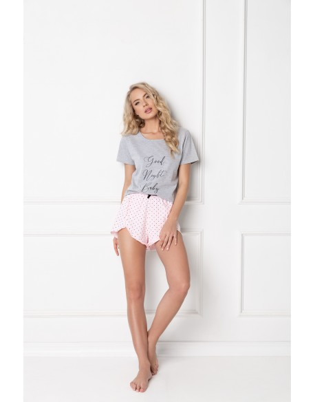 Aruelle Piżama Grace Short Grey-Pink