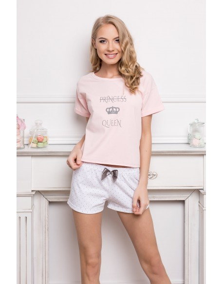Aruelle Piżama Princess Queen Short Dots & Pink