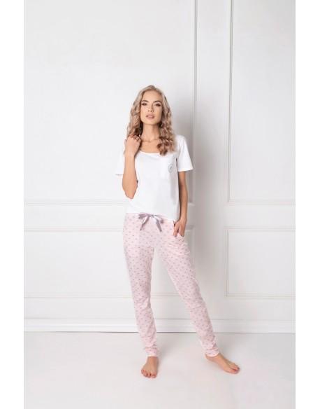 Aruelle Piżama Q Long Biało-różowa